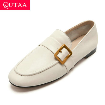 QUTAA 2020 Square Heel Spring Women Shoes Casual Round Toe Buckle Ladies Pumps Soft Cow Leather Slip on Single Shoes Size 34-39