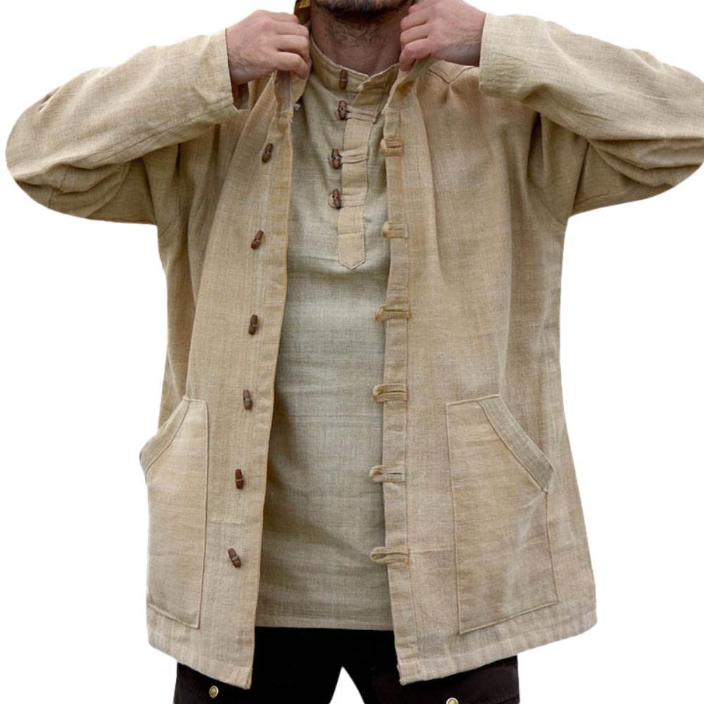 Осеннее пальто с капюшоном, винтажная повседневная куртка, свободная однобортная мужская верхняя одежда больших размеров, однотонная лини...