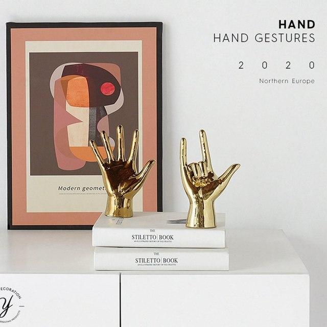 VILEAD Golden Porcelain Gesture Finger Figurines Modern Ornaments Home Room Decoration Desktop Statue Gifts 5