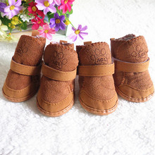 4Pcs/Set Boots Winter Warm Shoes Cute Dog Boots Snow Walking Puppy Sneakers Supplies Small Dogs Cotton Non Slip boots Snow Boots