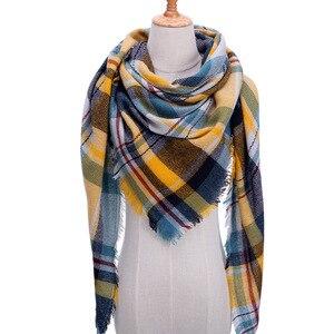 Image 5 - Plaid couleur Simple femmes écharpes 2019 triangulaire 140*140*210cm cachemire chaud automne hiver châles enveloppes écharpe pour les femmes