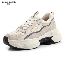 цена на Genuine Leather Sneakers Women Spring Autumn New Flats Platforms Casual Shoes Woman Quality Comfortable Sports Shoes