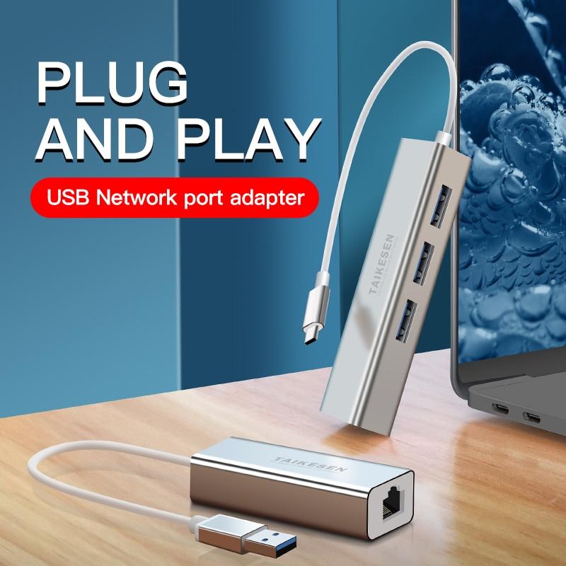 USB C HUB 1000Mbps 3 Ports USB 3.0 Type C HUB USB to Rj45 Gigabit Ethernet Adapter for MacBook Laptop Computer Accessories