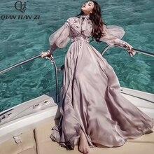 Qian Han Zi plus size Designer Fashion Runway Maxi dress Women's Lantern Sleeve