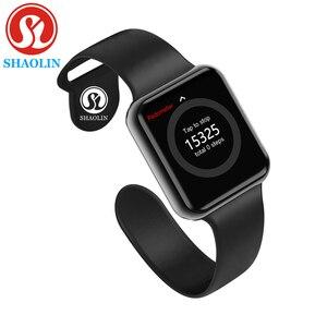Image 1 - Bluetooth Smart Horloge Wearable Apparaten Sync Notifier Ondersteuning Whatsapp Voor Apple Ios Iphone Android Telefoon Smartwatch (Rode Knop)