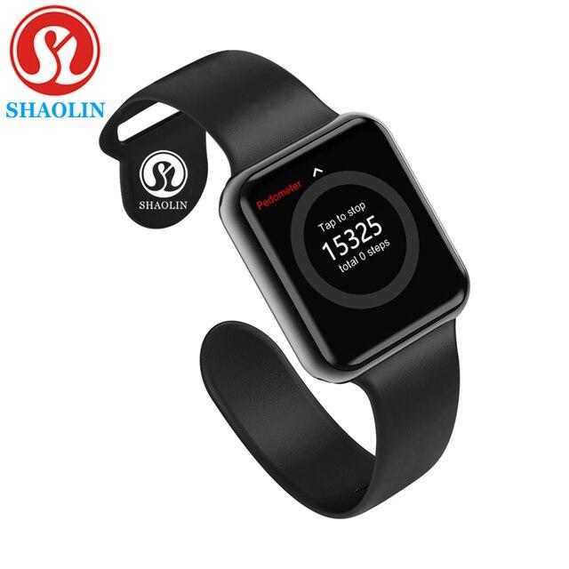 Bluetooth Smart Horloge Wearable Apparaten Sync Notifier Ondersteuning Whatsapp Voor Apple Ios Iphone Android Telefoon Smartwatch (Rode Knop)