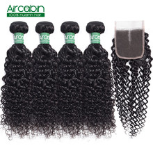 Aircabin Hair Peruvian Kinky Curly 4 Bundles with Closure Human Non Remy Hair Extensions Bundle With Lace Closure Free Shipping(China)