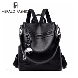 Image 1 - Herald Fashion Women Backpack for School Style Leather Student Bag For College Simple Design Women Casual Daily Packs mochila