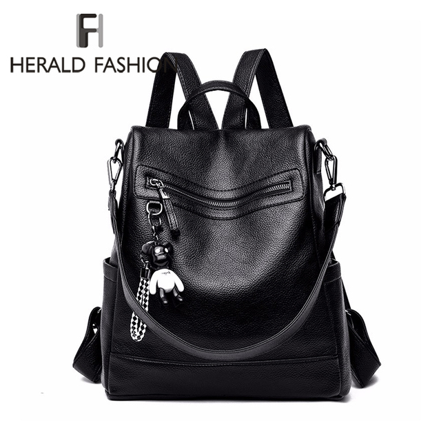 Herald Fashion Women Backpack for School Style Leather Student Bag For College Simple Design Women Casual Daily Packs mochila