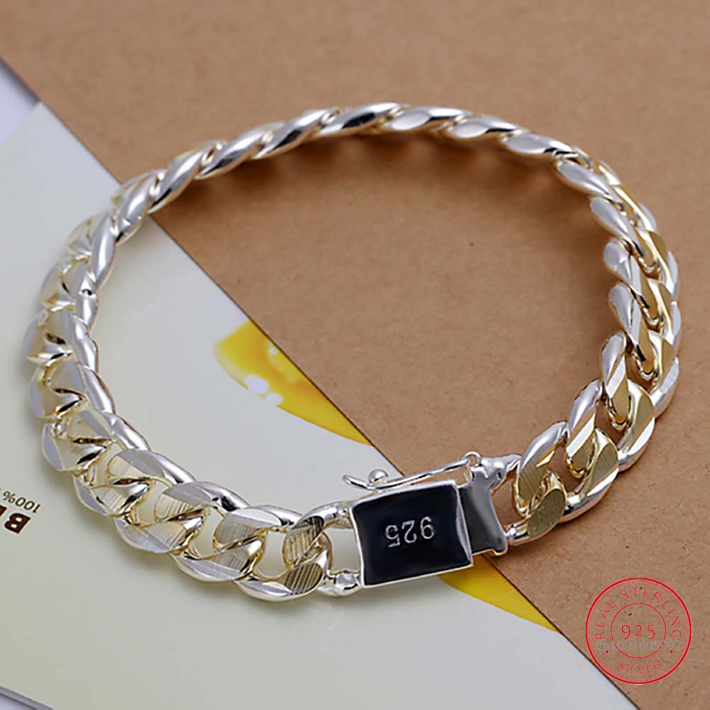 Jewelry Bracelet 925-Sterling-Silver Men's Fashion Exquisite Thick 21cm 10mm-Width Pulseras