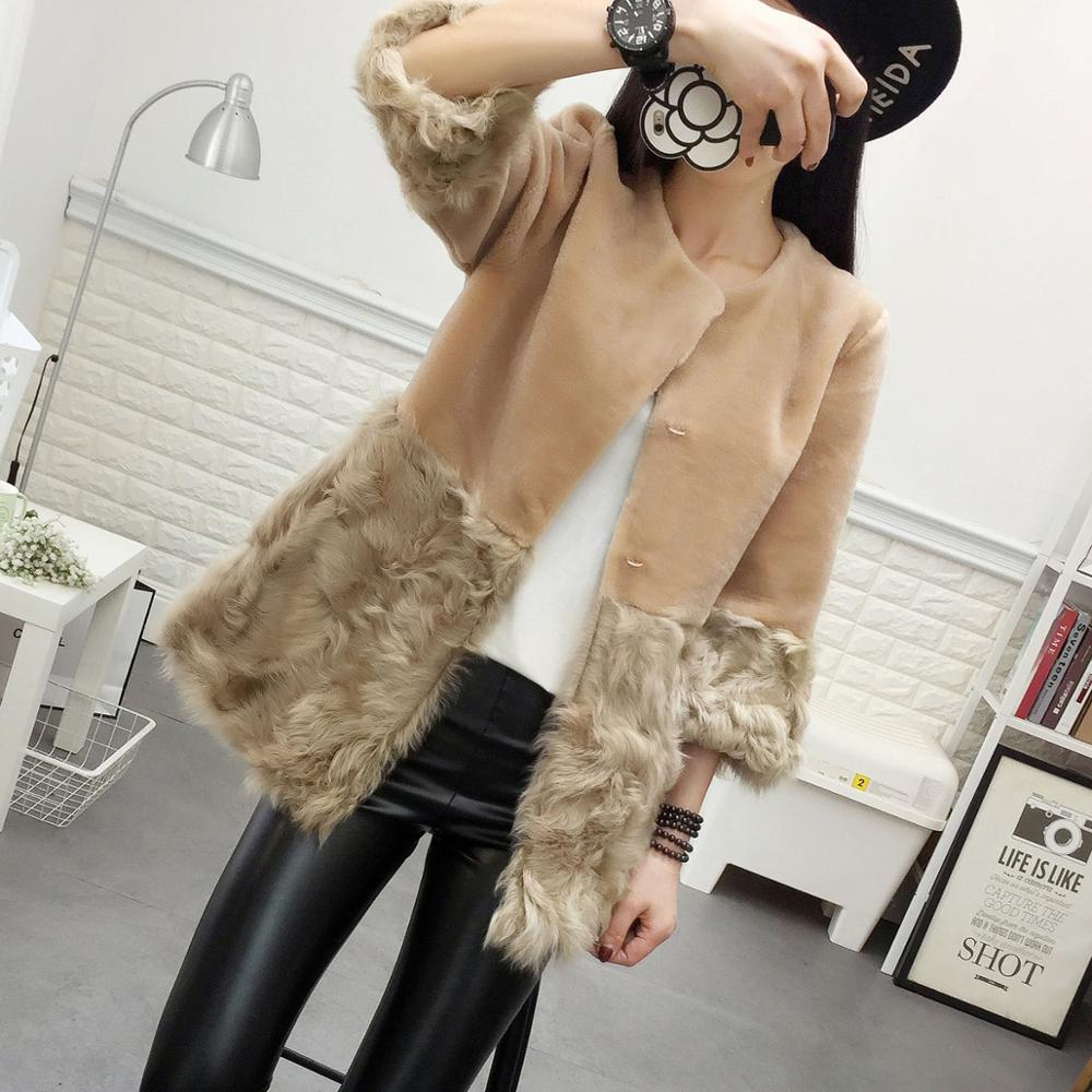 Color Contrast Medium-long Women's Real Lamb Fur Coat Outerwear Women Natural Wool Fur Jacket Female Warm Winter Clothes