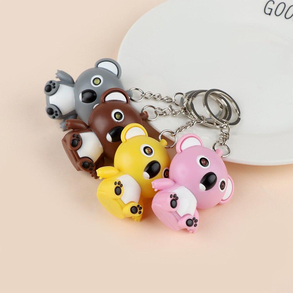Chaveiro de led koala com mini lanterna, chaveiro fofo e multicolor com som para mulheres e homens, joia