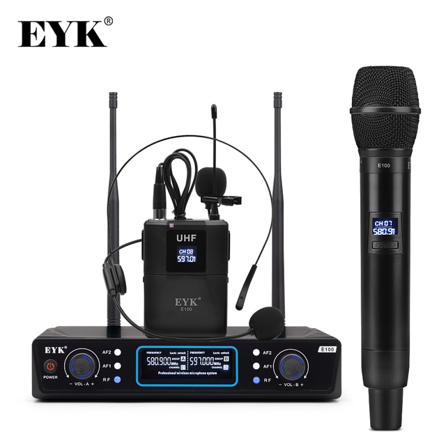 EYK E100 Dual Way Transmitter UHF Wireless Microphone with Handheld + Bodypack + Lapel + Headset Mic for Karaoke Church Youtube