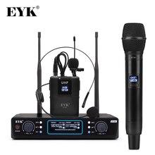 EYK E100 듀얼 웨이 송신기 UHF 무선 마이크 (핸드 헬드 + 바디 팩 + 옷깃 + 헤드셋 마이크 포함) 가라오케 교회 유튜브