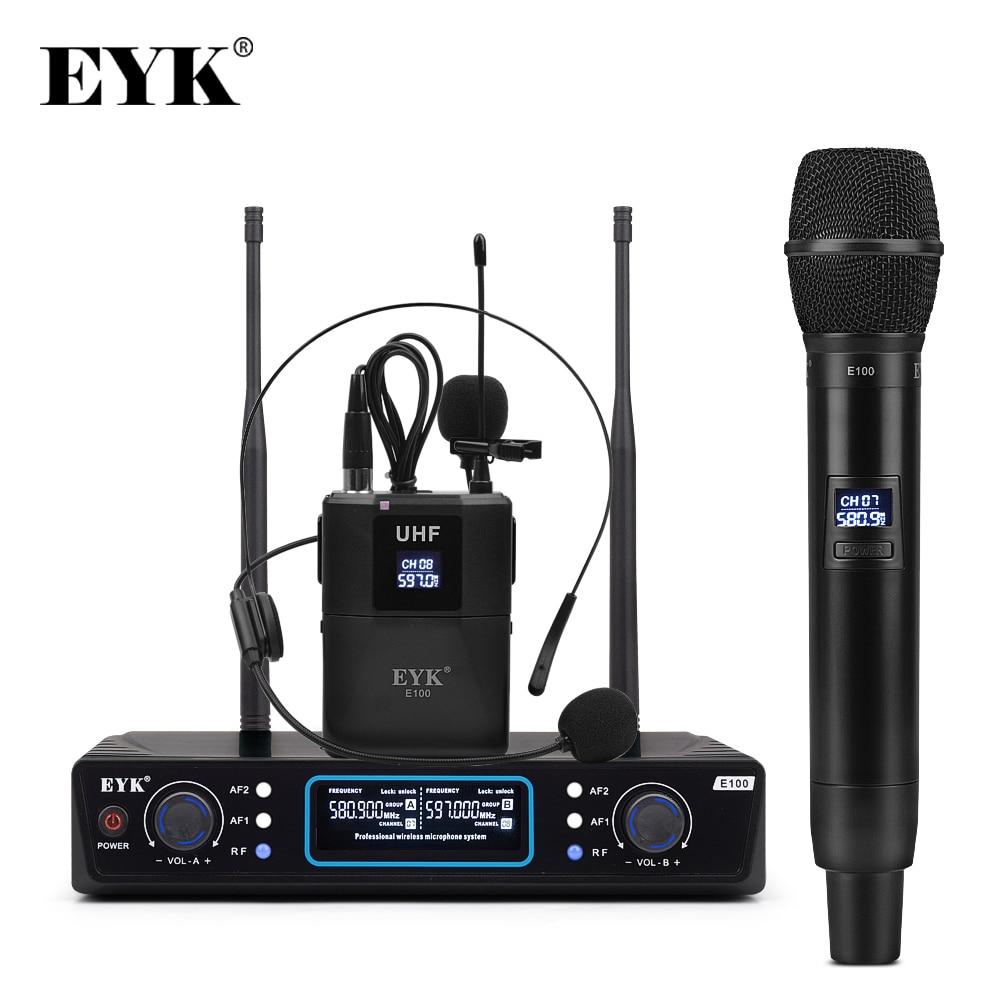 Microfone sem Fio com Handheld + Bodypack Fone de Ouvido Microfone para Karaoke Dupla Maneira Transmissor Uhf Lapela Igreja Youtube Eyk E100