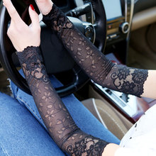 Mittens Summer Women Sexy Lace Covered Arm Sleeve Sunscreen Long Lace Fingerless Mittens Elastic Sleeve Ladies Driving Gloves