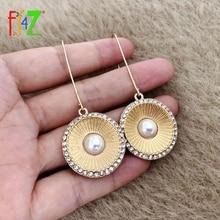 pair of graceful rhinestone circle earrings jewelry for women F.J4Z New Statement Earrings for Women Bohemian Rhinestone Circle Geometric Pendant Drop Earring Jewelry Gifts Dropship