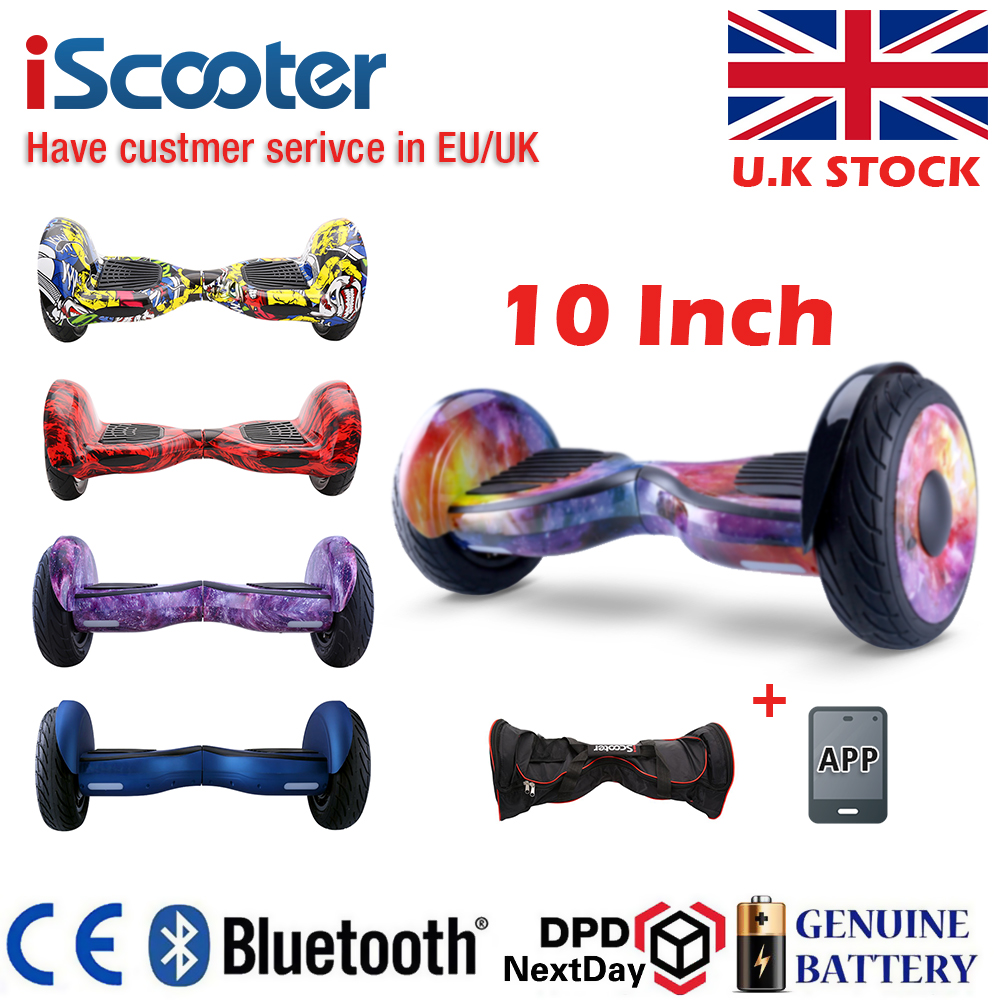 iScooter 10 Inch Electric Scooter Hoverboards Self Balance Skateboard Electric Hoverboard 10 inch Two Wheel Bluetooth Skateboard