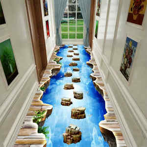 3D Fun Adventure Corridor Mat Bedroom Kitchen Rugs Kids Room Decorative Play Mat Area Rug Pastoral Carpets for Living Room(China)