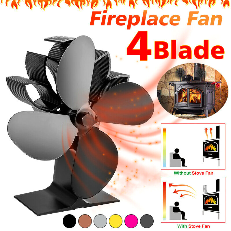 Black Fireplace Heat Powered Stove Fan 4 Blades Fireplace Silent For Wood Log Fire Burning  Quiet Fan Home  Heat Distribution