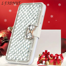 L FADNUT Luxury Bling Crystal Butterfly Flip Leather Case For HUAWEI Mate 20 Lite P20 Pro Cover 360 Shockproof Coque Funda Capa