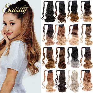 Saisity 18Inches Long Wavy Wrap clip in ponytail hair extension wrap around ponytail synthetic fake pony tail hair