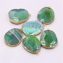 Green agates druzy pendant Women's handmade healing Stone Made Quartz Druzy Pendant Natural Stone Jewelry Druzy wholesale DIY