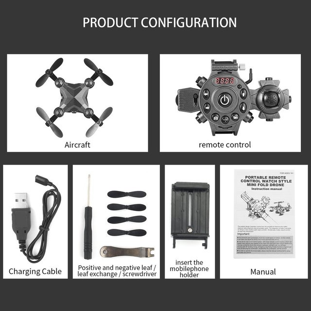 2019 New Portable Remote Control Watch Style 2.4G 0.3MP Wifi Mini Foldable Height Hold G-sensor FPV Drone Quadcopter