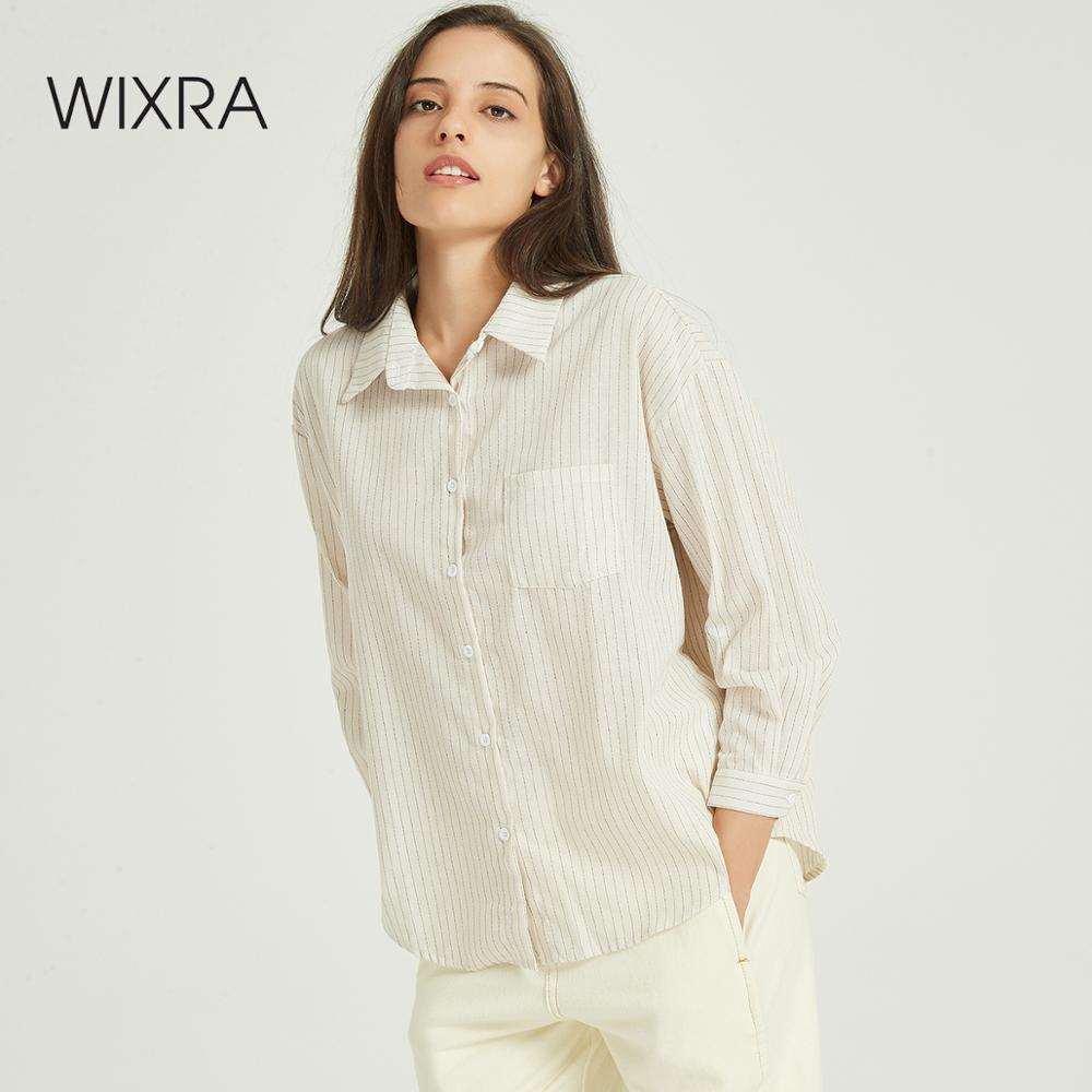 Wixra Women Striped Blouse Ladies Casual Long Sleeve Turn-down Collar Basic Loose Shirts Autumn Spring Pockets Casual Tops