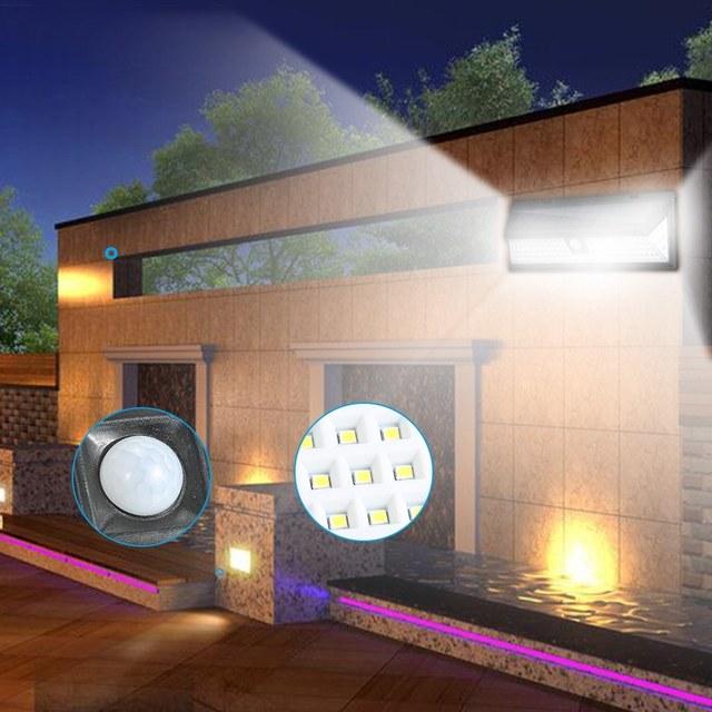 118 LEDs Solar Wall Light Motion Sensor Outdoor Garden Security Floodlight Bright Garden Garden Lawn Lamp IP65 Waterproof 3