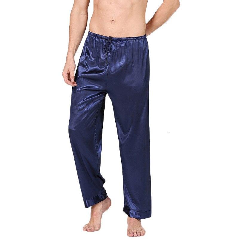 Silk Satin Pajamas Pyjamas Lounge Pants Sleep Bottoms Men Sleep Wear Homewear Pijama Solid Long Trousers Male Plus Size 3XL