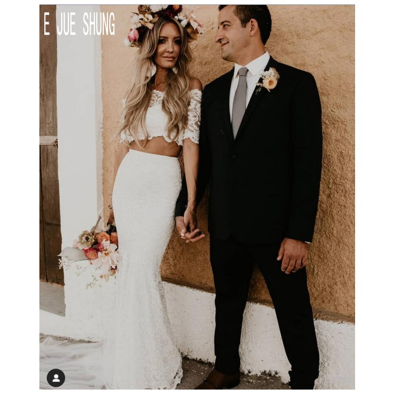 E JUE SHUNG Modern Two Piece Beach Wedding Dresses Off The Shoulder Short Sleeves Lace Mermaid Bridal Gowns Vestidos De Novia