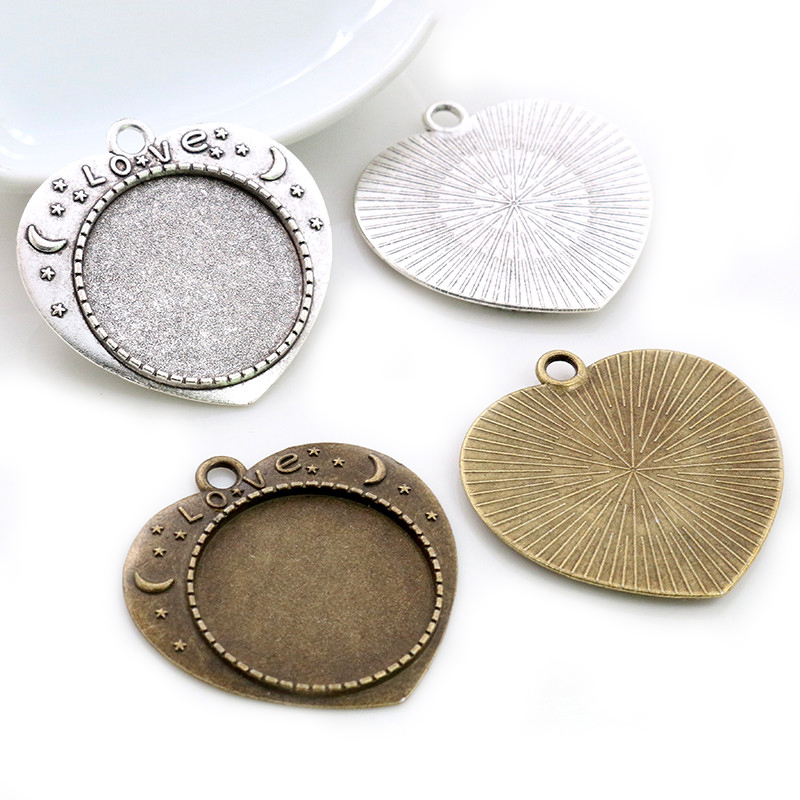 New Fashion 5pcs 25mm Inner Size Antique Silver Plated Bronze Love Cameo Cabochon Base Setting Charms Pendant