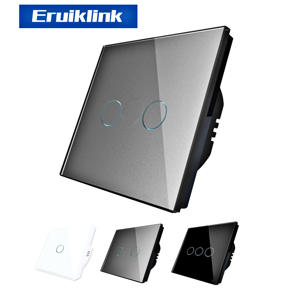 Eruiklink EU/UK Standard AC 110V-250V Light Switchs, Wall Switch,Crystal Glass panel Touch Wall Light Switch