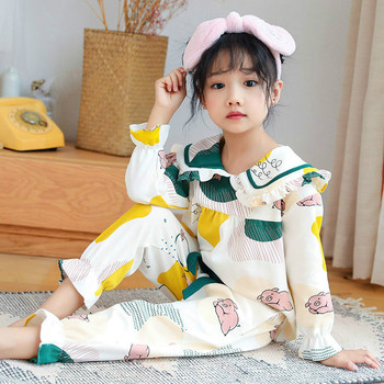 Disney Mickey Girl Pajamas Spring and Autumn Cotton Long-sleeved Baby Middle-aged Children Thin Two-piece Summer Childrens Suit