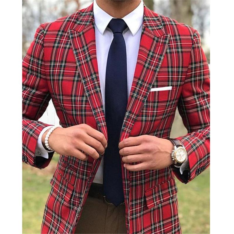 Scottish Plaid Men Suits For Wedding Groom Tuxedos Slim Fit Man Suit Set Peaked Lapel 2 Piece Blazer Pants Custom Made