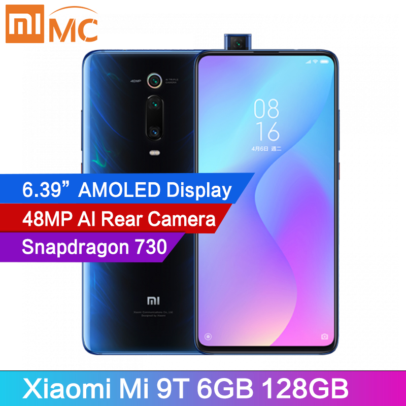 "Original Xiaomi Mi 9T 6GB 128GB Mobile Phone Snapdragon 730 48MP AI Rear Camera 4000mAh 6.39"" AMOLED Display MIUI Global Version"