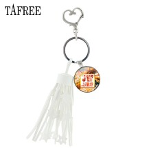 TAFREE new JW.ORG Key Rings with white tassels 2019 summer trendy JW glass cabochon women jewelry gift for Female bag JW01(China)