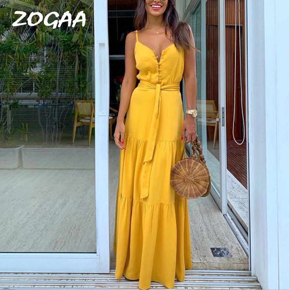 ZOGAA femmes robe d'été Boho Style sans manches à bretelles femmes filles robes col en v bande fête plage robe féminine les robe