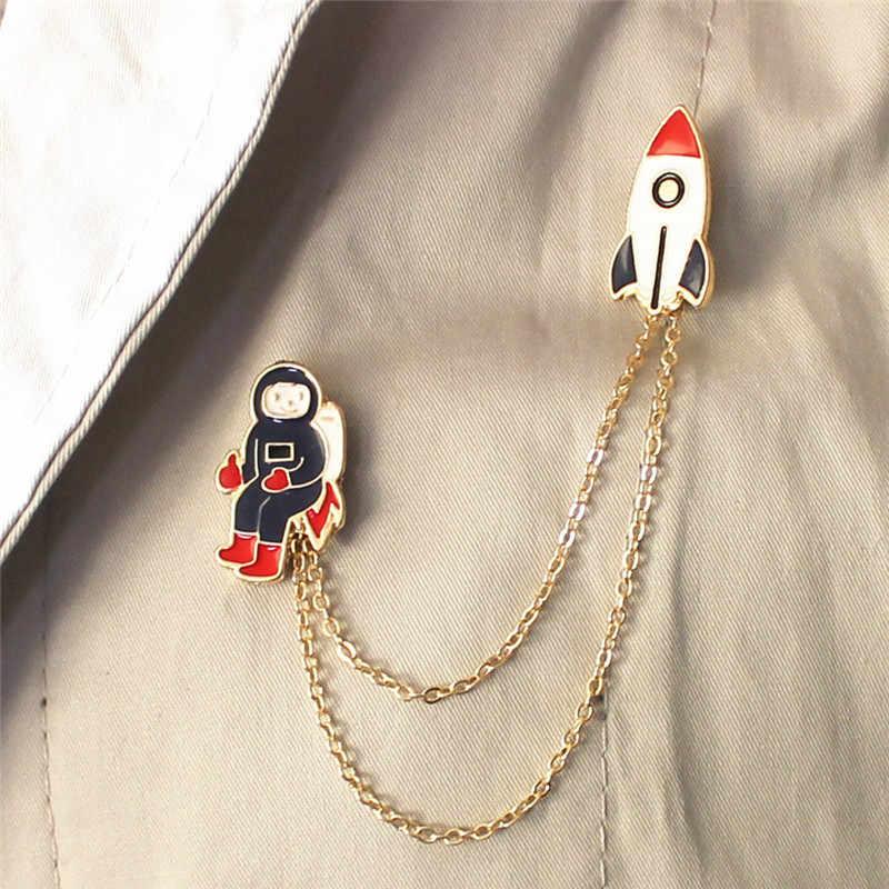 I-Remiel Sveglio di Modo Galaxy Universo Dello Smalto Spilla Pianeta Terra Razzo Coniglio Astronauta Distintivo di Clip Colletto Della Camicia Spille Accessori
