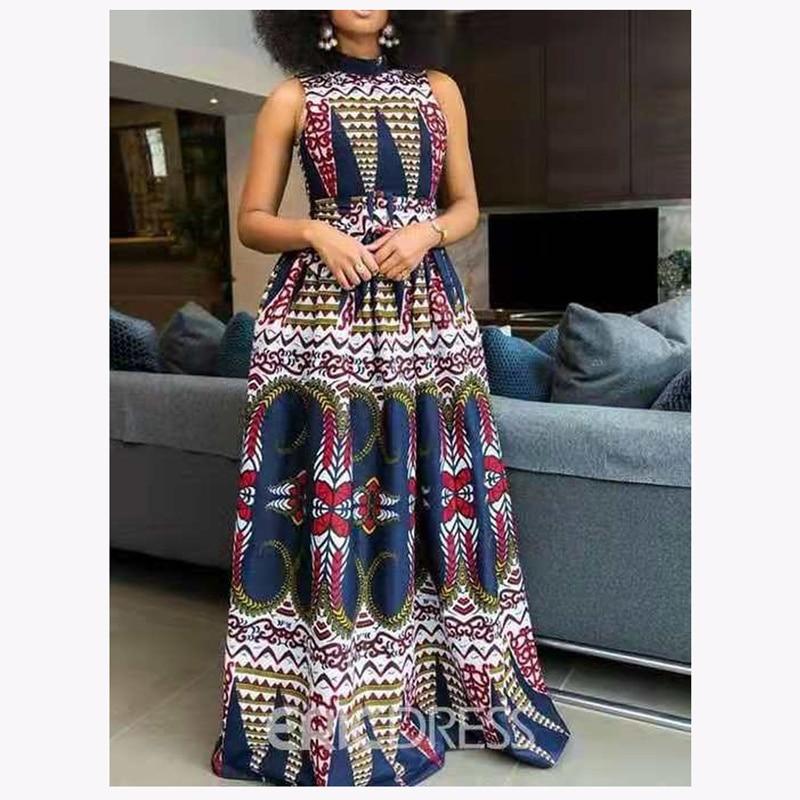 Женское платье в африканском стиле, макси платье с лямкой на шее и традиционным принтом, женская вечерняя одежда в американском стиле, аксессуары африканских платьев 2020