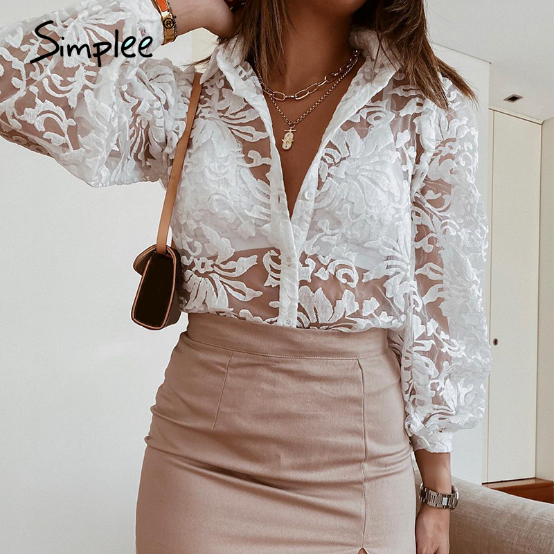 Simplee Vintage embroidery lace women blouse shirt Long sleeve button white female top shirt Elegant office ladies chic blouses