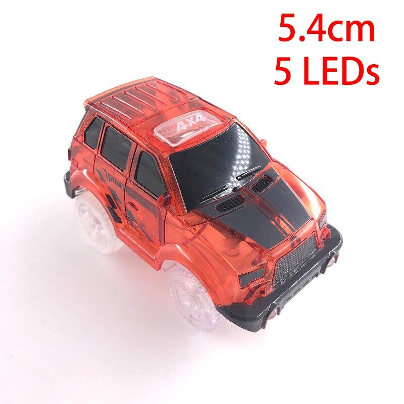 4,4-5,4 см волшебная Электроника светодиодный игрушечный автомобиль с мигающими огнями Развивающие игрушки для детей подарок на день рождения игра с треками - Цвет: 5 LED Lights