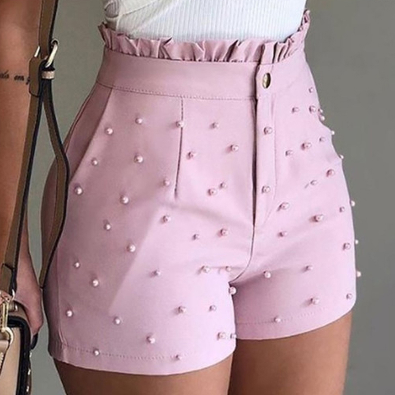 Zipper Shorts Bead-Decoration Office Elegant High-Waist Summer Women Cute Lady Soild title=