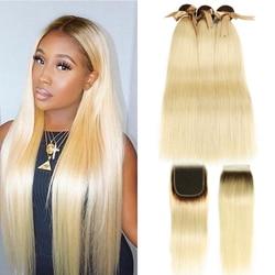 Черный жемчуг Омбре пучки с закрытием перуанские прямые волосы 613 медовый блонд пучки с закрытием Remy 613 наращивание волос