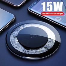 Cargador inalámbrico Qi de 15W para iPhone X 11pro, almohadilla de escritorio de carga rápida USB para Samsung S10, teléfono móvil SIKAI