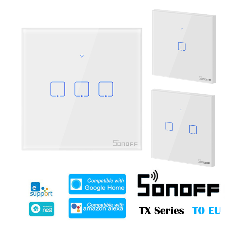 SONOFF T0 EU TX-Series 1/2/3 Gang WiFi Smart Switch WiFi Wall Smart Home Automation Switches Work With EWelink Google Home Alexa