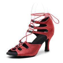Женские туфли для латинских танцев на шнуровке; Красные блестящие