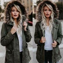 Womens Cotton Blend Faux Fur Hoodie Parka Outwear Winter Jacket Warm Coat