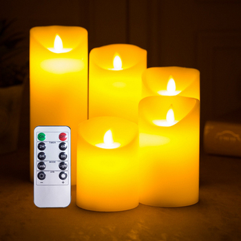 Rechargeable  Flameless Candle Real Wax Pillar Realistic Dancing Flame Electric LED Candle with Remote Control trinity candle factory white christmas pillar candle 4x9